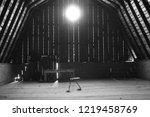 a steel chair  inside a barn. | Shutterstock . vector #1219458769