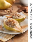 half pears with cottage cheese  ...   Shutterstock . vector #1219467070