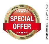 special offer red gold button... | Shutterstock .eps vector #121946710