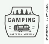 vintage camping outdoor and... | Shutterstock . vector #1219489303