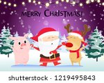 christmas greeting card design. ... | Shutterstock .eps vector #1219495843