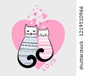 love. a pair of cute  cartoon... | Shutterstock .eps vector #1219510966