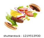 delicious burger with floating... | Shutterstock . vector #1219513930