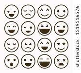 emoji set. set of thin line...   Shutterstock .eps vector #1219516576