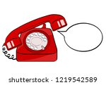 red old phone and empty speech... | Shutterstock .eps vector #1219542589