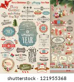 christmas vintage scrapbook set | Shutterstock .eps vector #121955368