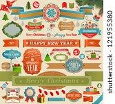 christmas set   vintage ribbons | Shutterstock .eps vector #121955380