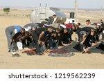 palestinian demonstrators... | Shutterstock . vector #1219562239