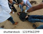 palestinian demonstrators... | Shutterstock . vector #1219562299