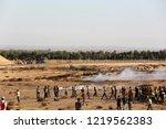palestinian demonstrators... | Shutterstock . vector #1219562383