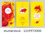 vector cards with a... | Shutterstock .eps vector #1219573300