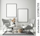 mock up poster frame in modern... | Shutterstock . vector #1219581703