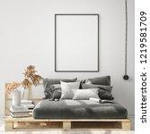 mock up poster frame in modern... | Shutterstock . vector #1219581709