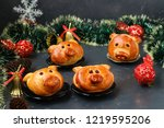 """buns """"piglets"""" for the new year ...   Shutterstock . vector #1219595206"""