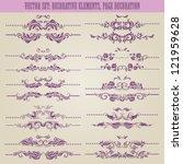 vector set  floral decorative... | Shutterstock .eps vector #121959628
