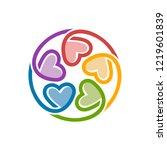 unity love logo design template | Shutterstock .eps vector #1219601839