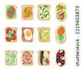 sandwich breakfast toast set... | Shutterstock .eps vector #1219603873
