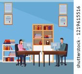 business people and office... | Shutterstock .eps vector #1219615516
