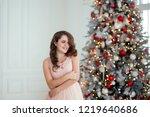 nice brunette girl with long... | Shutterstock . vector #1219640686