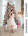 nice brunette girl with long... | Shutterstock . vector #1219640689