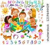 education. a group of children... | Shutterstock . vector #1219644439