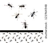 ant,ant hill,black,breeding,crumbs,insect,mustaches,nest,pattern,paw,pests,repeating,small,summer,vector