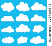 cloud set icon on bright blue... | Shutterstock .eps vector #1219669846