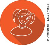 doodle girl icon with long... | Shutterstock .eps vector #1219674586