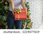 people give gifts for christmas ... | Shutterstock . vector #1219677619