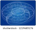 wheel and gear mechanism on a... | Shutterstock .eps vector #1219685176