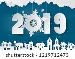 happy new year and winter... | Shutterstock .eps vector #1219712473