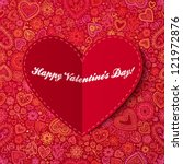 Red Paper Heart Valentines Day...