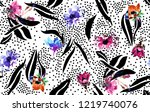 floral pattern and  polka dots... | Shutterstock . vector #1219740076