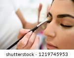 make up artist putting eye... | Shutterstock . vector #1219745953