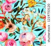 watercolor floral pattern | Shutterstock . vector #1219753120
