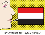 pop art womans face with the...