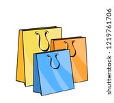 colorful empty shopping bags on ... | Shutterstock .eps vector #1219761706