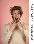 single with uncombed hair....   Shutterstock . vector #1219781449
