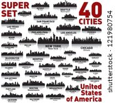 Stock vector incredible city skyline set city silhouettes of united states of america 121980754