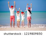 happy family on a tropical...   Shutterstock . vector #1219809850