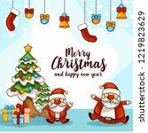 cute cartoon santa and... | Shutterstock .eps vector #1219823629