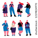 set of plus size girls dressed... | Shutterstock .eps vector #1219824970