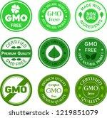 set of gmo free organic food... | Shutterstock .eps vector #1219851079