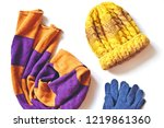 striped orange and purple scarf ... | Shutterstock . vector #1219861360