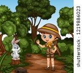 young cute girl scout waving... | Shutterstock .eps vector #1219886023