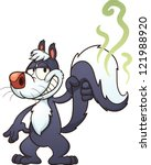 cartoon,character,cute,gradient,illustration,isolated,skunk,smiling,standing,stink,tail,vector