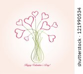 bouquet from hearts in a vase | Shutterstock .eps vector #121990534