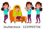 girl schoolgirl kid poses set... | Shutterstock .eps vector #1219905736