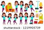 girl schoolgirl kid poses set... | Shutterstock .eps vector #1219905739