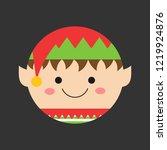 cute xmas elf round head vector ... | Shutterstock .eps vector #1219924876
